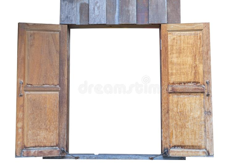 Old wood twin windows. isolated on white background. Save with clipping path royalty free stock images