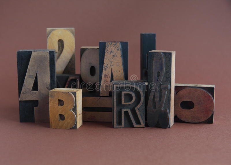 Old Wood Type Group Stock Image