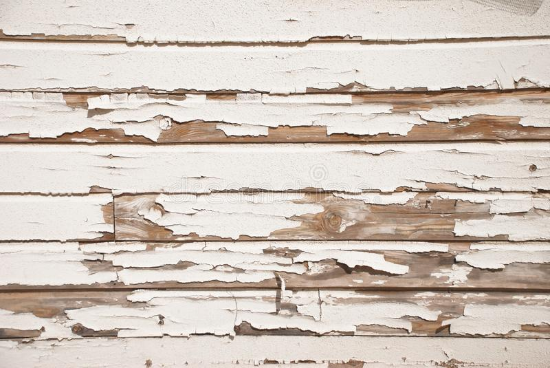 Old Wood Wall With Cracked White Paint royalty free stock photography