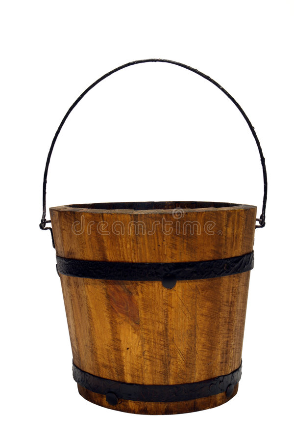 Old Wood Water Bucket with Handle Isolated. On white stock images