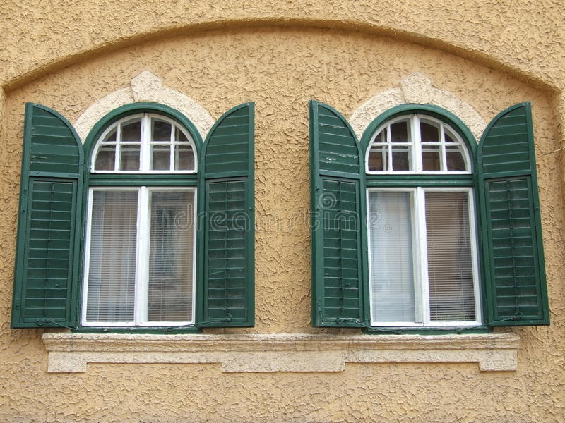 Old wood windows. From an old building in Sibiu,Romania royalty free stock photography