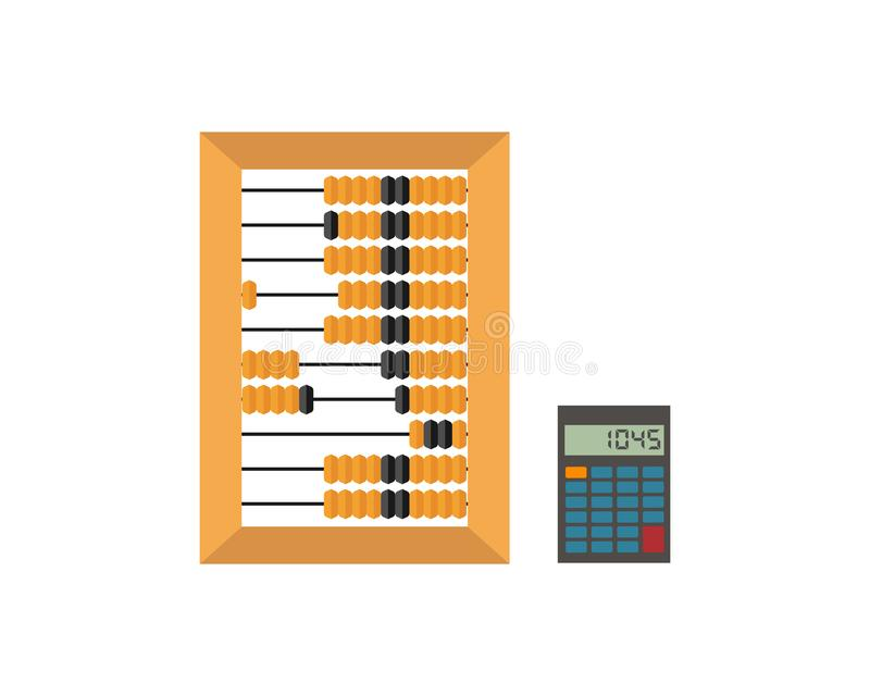 Old wooden abacus and calculator isolated on a white backgroun. Vector. Old wooden abacus and calculator isolated on a white backgroun. Vector illustration stock illustration