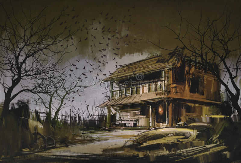 Old wooden abandoned house,halloween background vector illustration