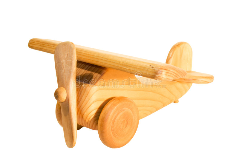 Old wooden airplane toy stock image