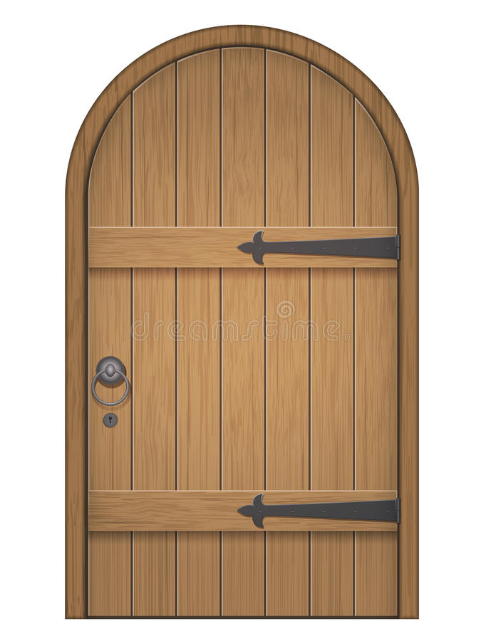 Old wooden arch door royalty free stock image