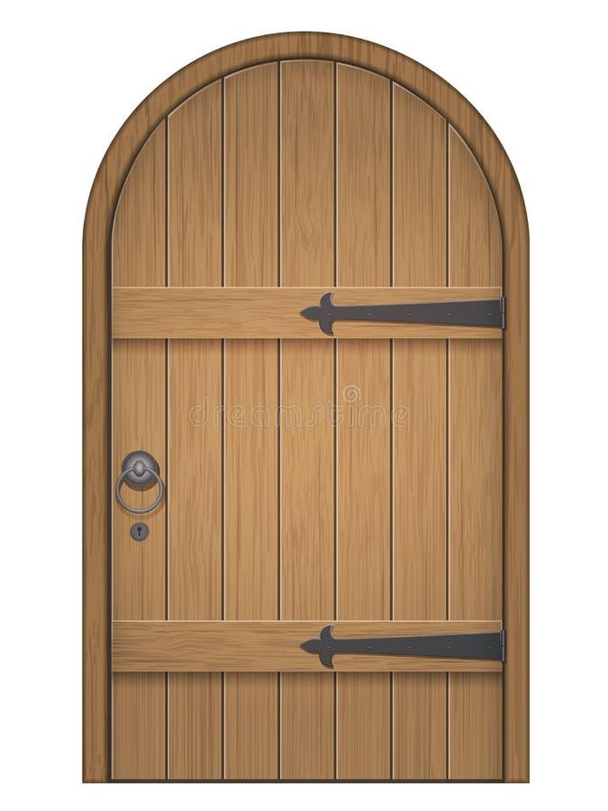 Old wooden arch door stock illustration