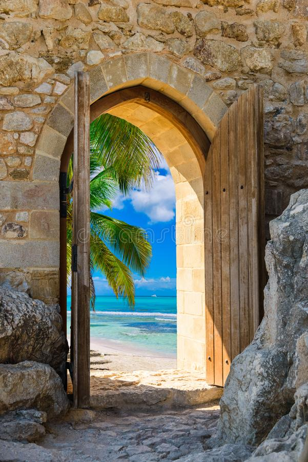 Arch in the fortress view of the Caribbean Sea royalty free stock photography