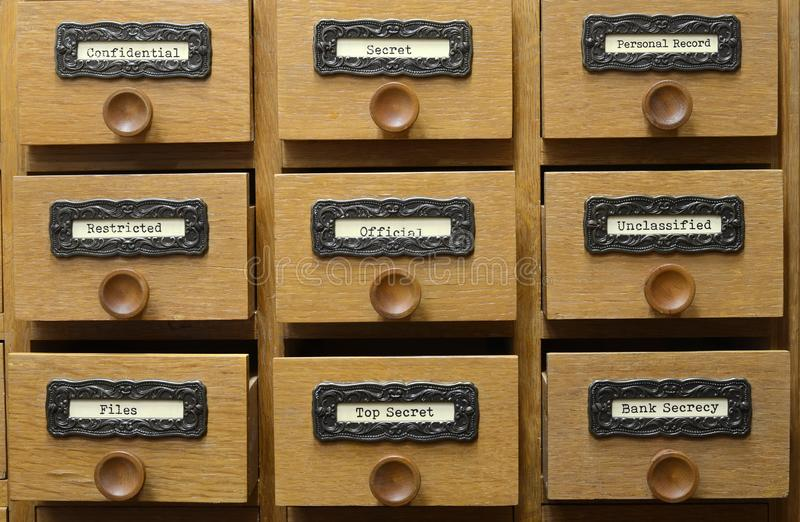 Old wooden archive files catalog drawer royalty free stock images