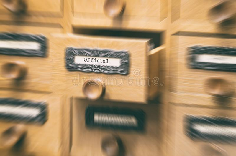 Old wooden archive files catalog drawer, official files royalty free stock photography