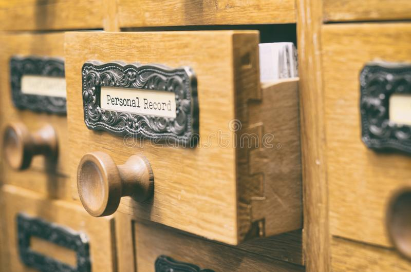 Old wooden archive files catalog drawer, Personal Record files stock images