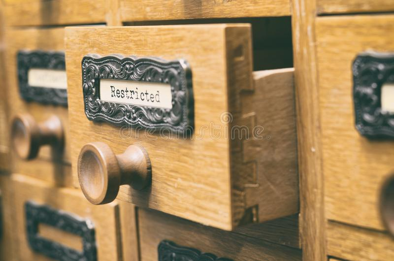 Old wooden archive files catalog drawer, Restricted files stock images