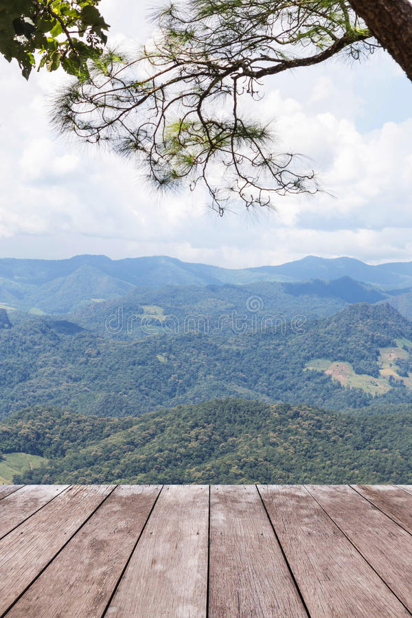 Old wooden balcony terrace on viewpoint high layer mountain of rainforest. Empty old wooden balcony terrace floor on viewpoint high tropical layer mountain of royalty free stock photos