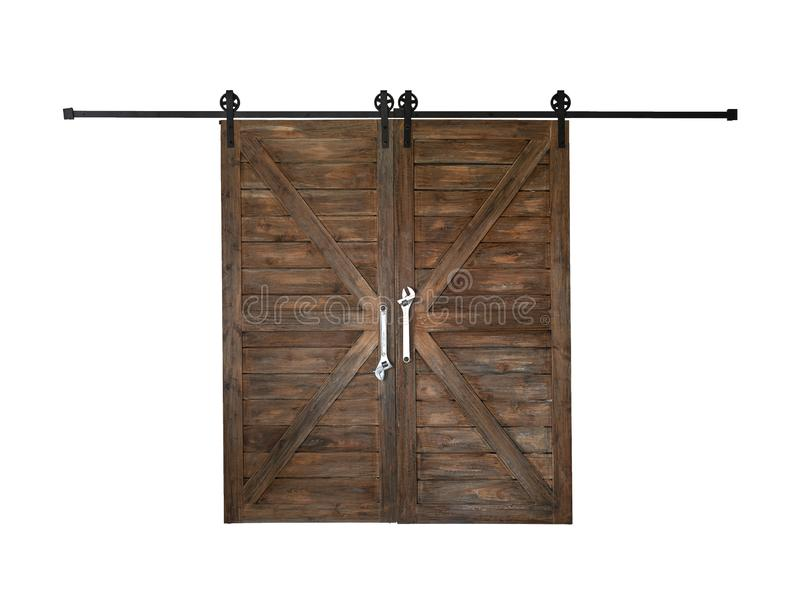 The old wooden barn door isolate ON white. Background royalty free stock photography