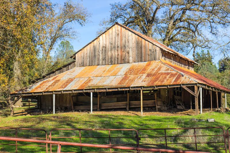 Old Wooden Barn With Overhang stock photos