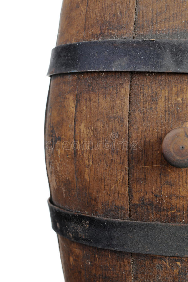 Old wooden barrel. Isolated on white background royalty free stock image