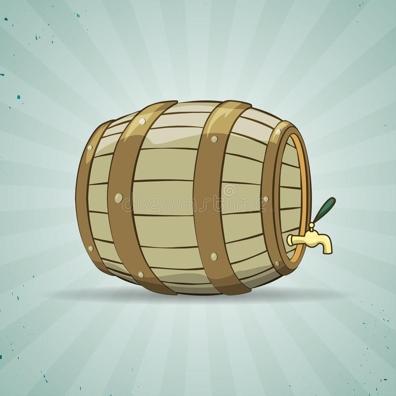 Old wooden barrel filled with natural wine or royalty free illustration