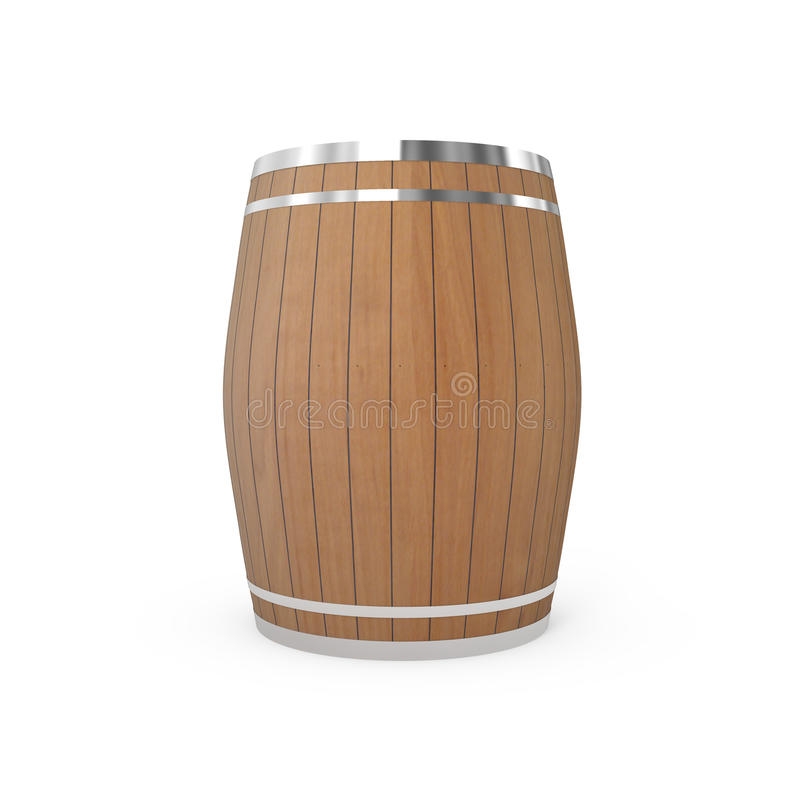 Old Wooden Barrel Isolated On White Royalty Free Stock Images