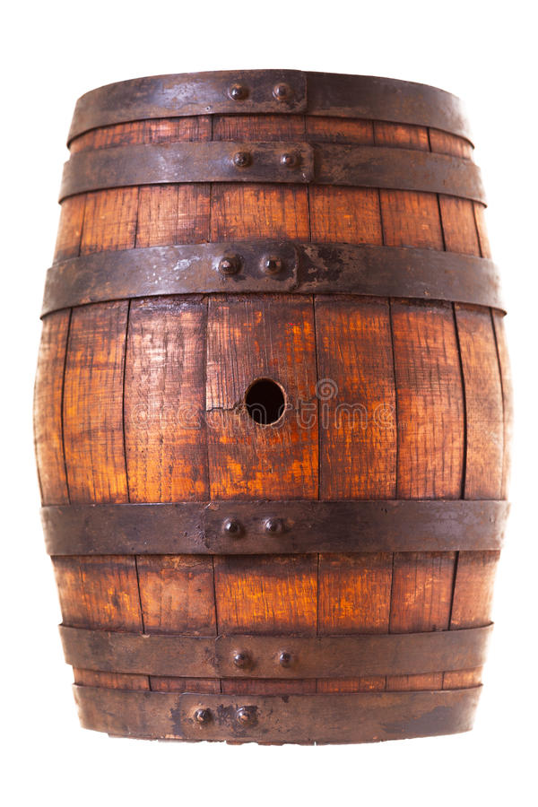 Old wooden barrel. Isolated on white background royalty free stock photo