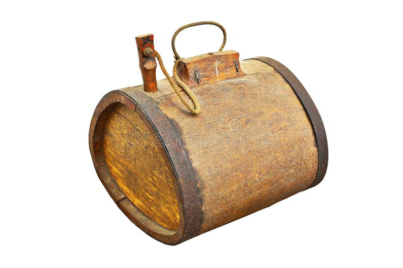 Old wooden barrel over white. Old wooden barrel for alcohol, isolation of historic object over white background royalty free stock images