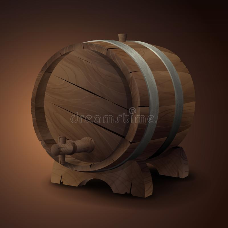 Old wooden barrel on rack with wood stopcock front view isolated on background royalty free illustration