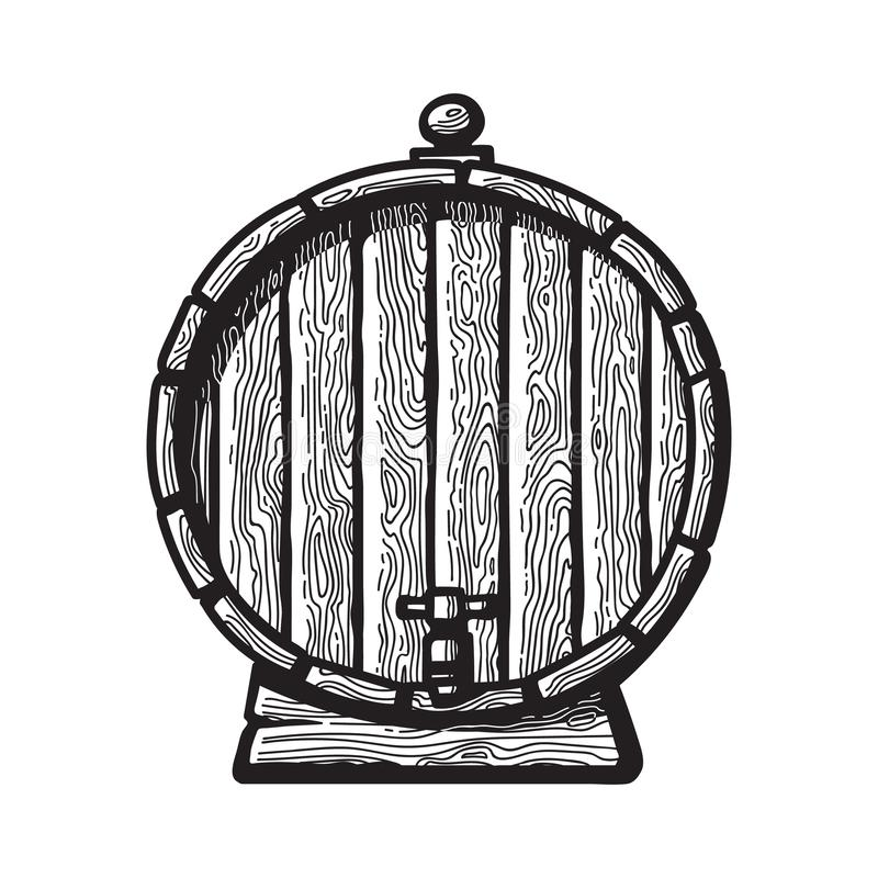 Old wooden barrel with a tap in engraving style. Black and white hand drawn vector illustrations. Front view of beer stock illustration