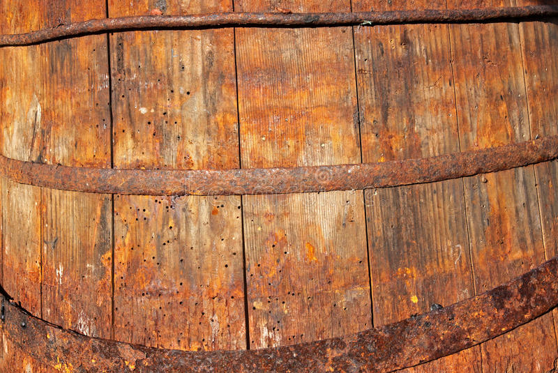 Old wooden barrel. Very old destroyed wooden barrel close up stock photography