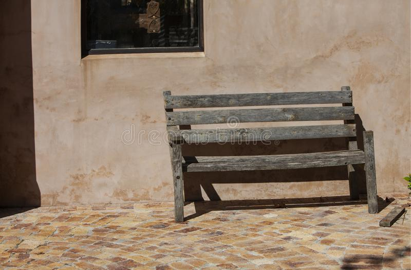 Old wooden bench in a rural farm, South Africa stock photo