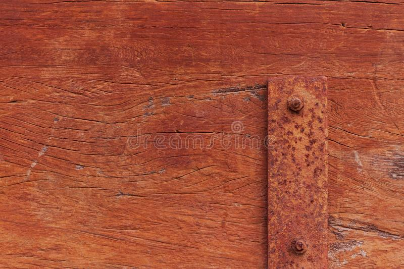 Old wooden bench texture with metal screws, closeup stock images
