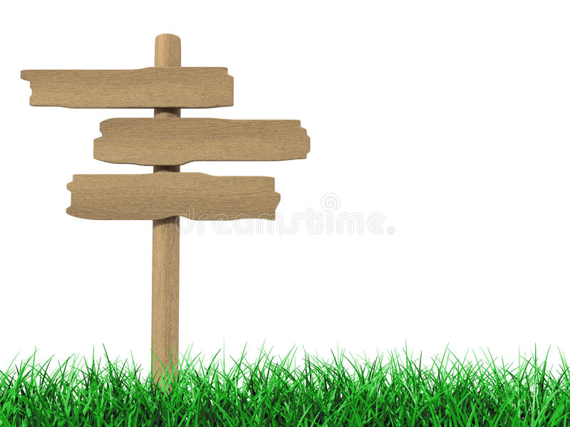 Old wooden billboard on the grass on white vector illustration
