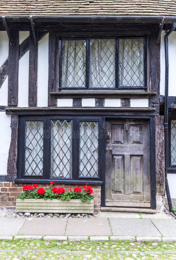 An old wooden with black door house seen in Rye, Kent, UK. royalty free stock images