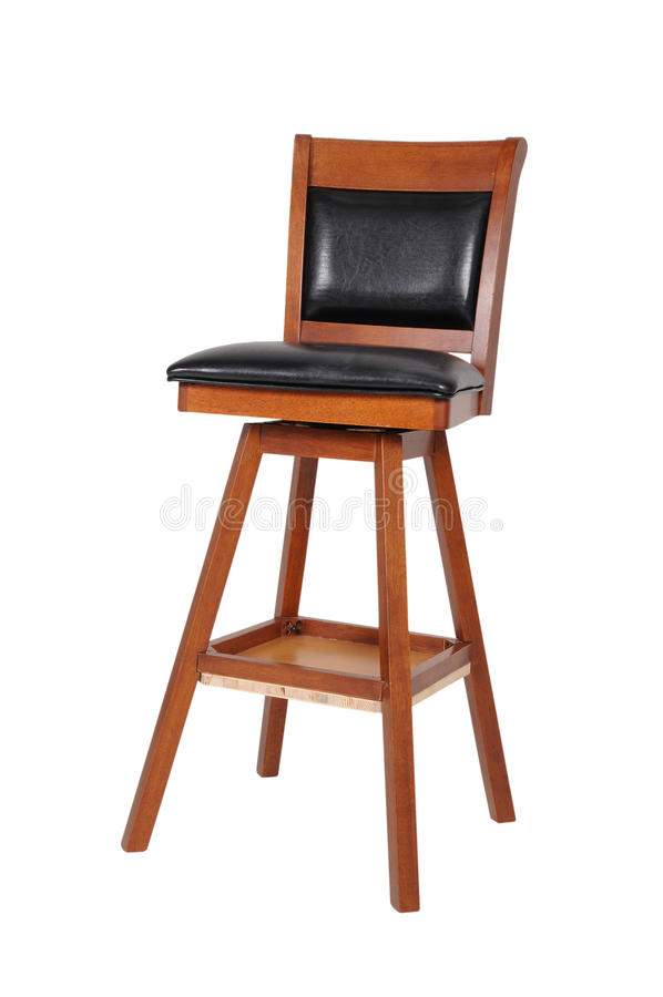 An old wooden and black vinyl chair stock images