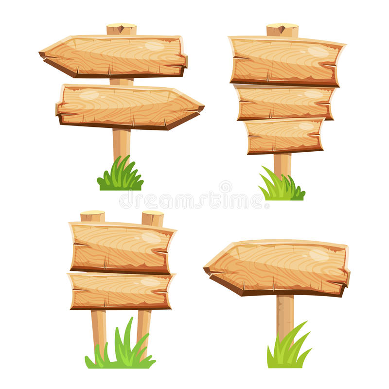 Old wooden blank cartoon sign boards in green grass isolated vector illustration
