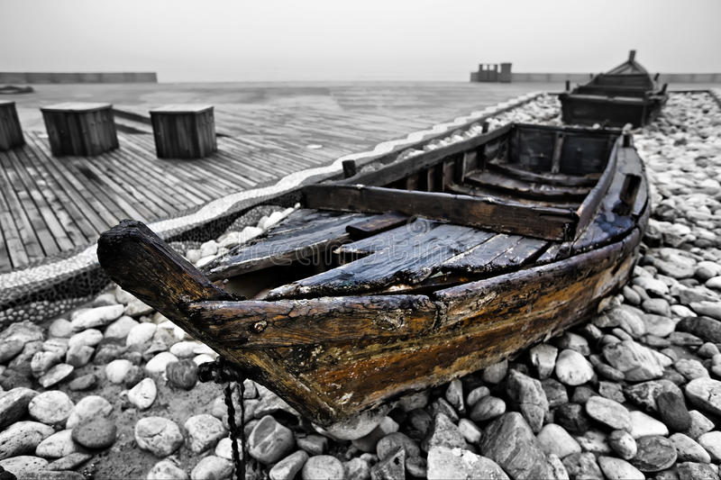 Old wooden boat stock image