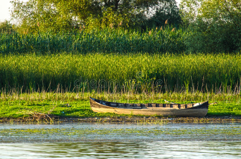 Old wooden boat in delta dunarii. Old wooden specific boat in delta Dunarii- lotca stock images