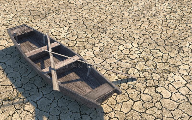 Old wooden boat on dry cracked soil. Dry river due to global warming. Climate change on Earth. Creative conceptual illustration stock illustration