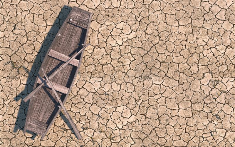 Old wooden boat on dry cracked soil. Dry river due to global warming. Climate change on Earth. Creative conceptual illustration. With copy space. 3D rendering stock illustration