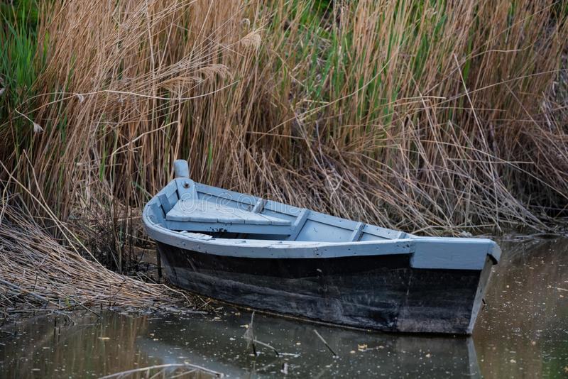 Old wooden boat on the river bank in early spring stock photography