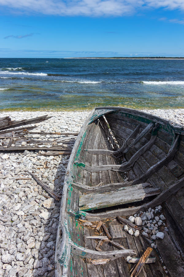 Download Old Wooden Boat On The Seashore Stock Photo - Image: 33701402