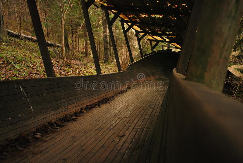Old wooden bobsled track stock photo