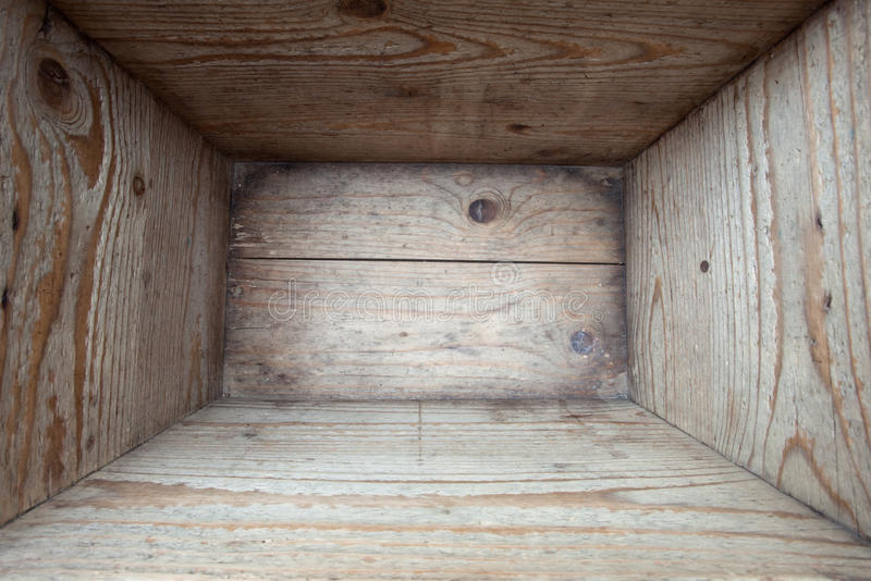 Old wooden box stock image