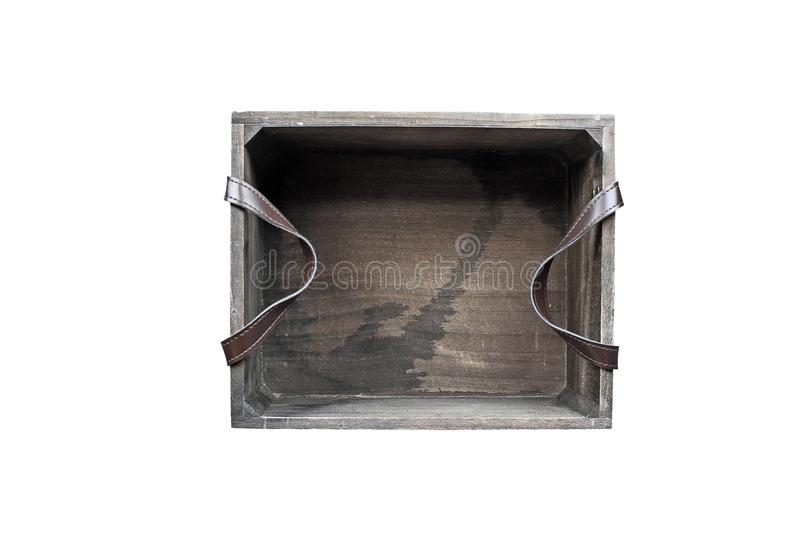 Old Wooden Box Isolated Over a White Background stock image