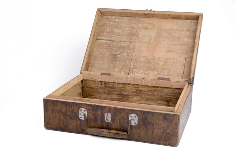 Old wooden box open and empty stock photography