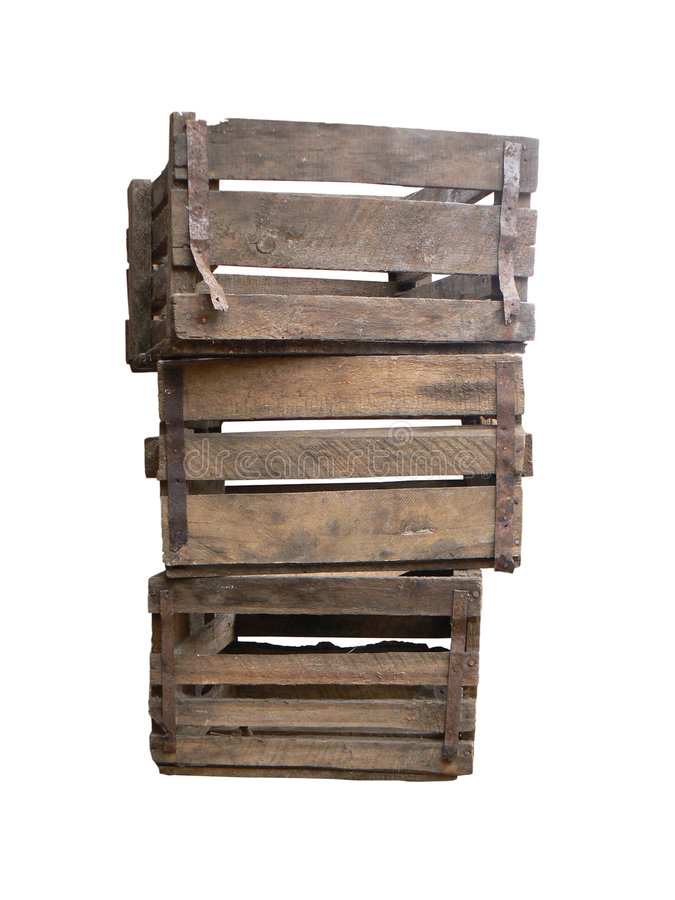 Old wooden boxes royalty free stock photos
