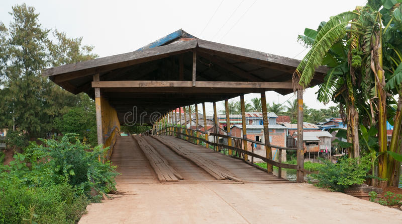 Old Wooden Bridge In Cambodia Stock Photo