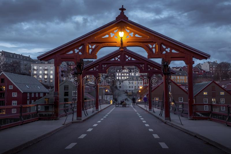 Old wooden bridge - Gamle Bybro in Trondheim, Norway stock photography