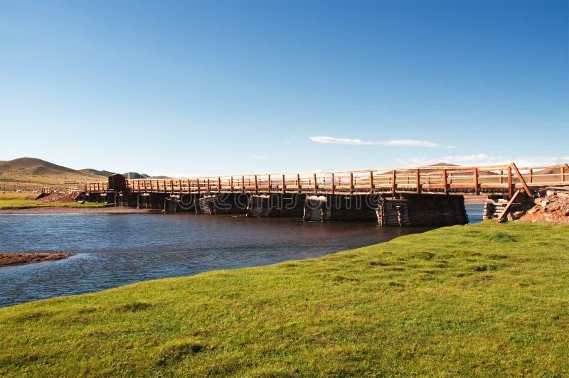 Old wooden bridge in Mongolia royalty free stock photos