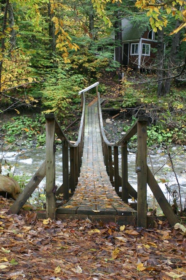Old Wooden Bridge Over Stream Stock Photo