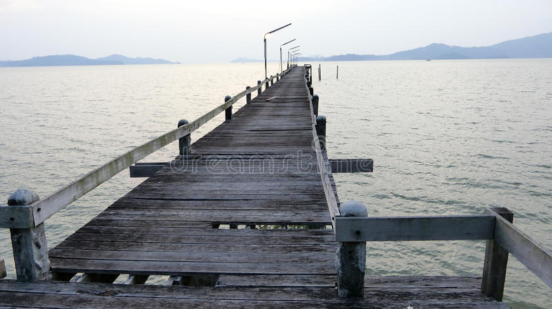 The old wooden bridge stock image
