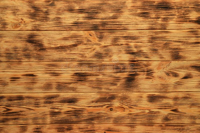 Old wooden brown background with pattern, orange wooden texture, yellow vintage plank, natural wood wall stock image