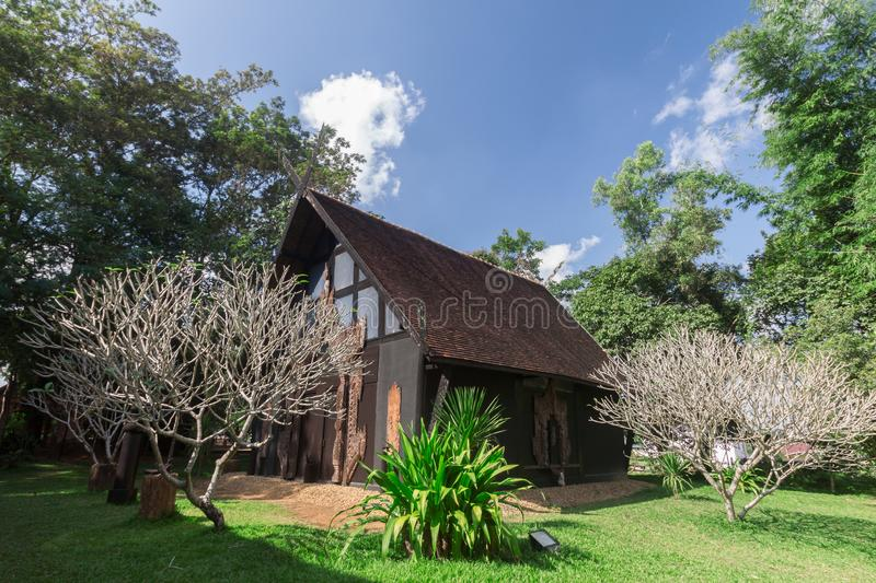 Old wooden building Lanna style at Chiangrai Thailand.  royalty free stock images